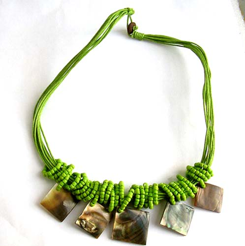 Discount jewelry store supplies multi strings green beaded necklace with 5 ab