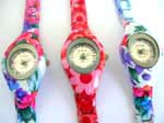 Fashion printed leather strape watch with assorted floral color pattern