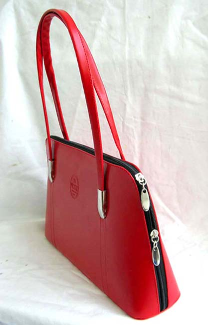 Red leather wholesale market online supply imitation solid red leather women's hand bag with zipper top