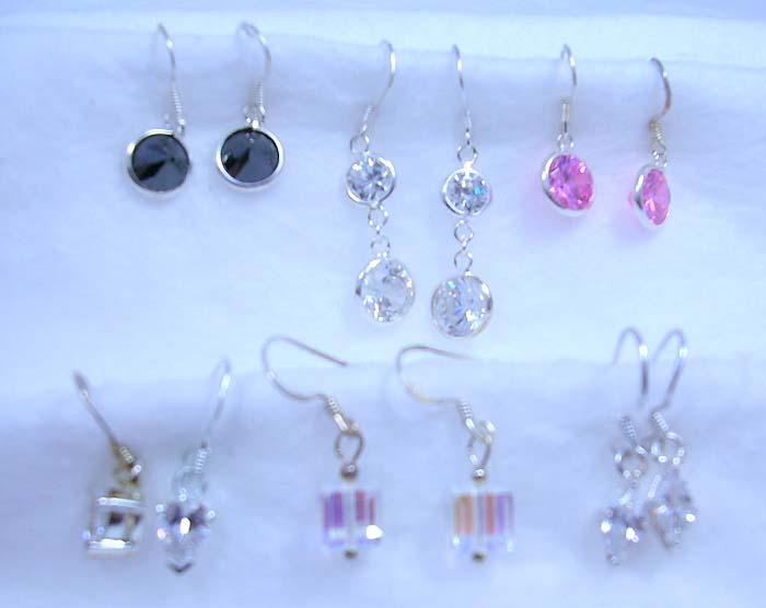 Inspired of semi-precious stone jewelry wholesale assorted cz fish hook sterling silver earring