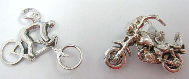 Affordable price wholesale sterling silver store supply bike motif, crafted 925. sterling silver pendants