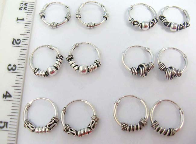 Bali Sterling Silver Manufacture Whole 925 Miniature Hoop Earrings With Crafted Designs