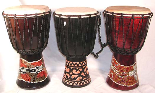 Percussion online wholesale african instument supply aboriginal assorted design dotted color djembe or deep carving pattern djembe with sheep skin on surface