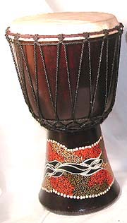 Summer wholesale gifts store online supply aboriginal assorted design dotted color djembe with sheep skin on surface