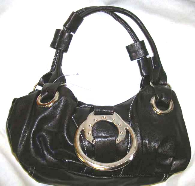 Leather hand bag manufacture store wholesale black and red PVC handle handbag with metal round chain design