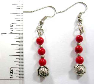 Fashion discount bali earring supplier supply silver fish hook earring with 3 rounded red faux stone embedded