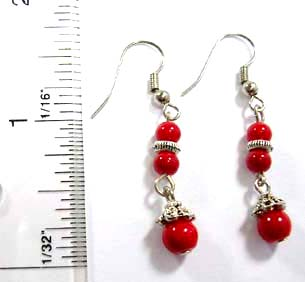 Unique jewelry wholesale supply Bali beaded, fish hook earring with bali silver beads paired with two small and one large red faux stone