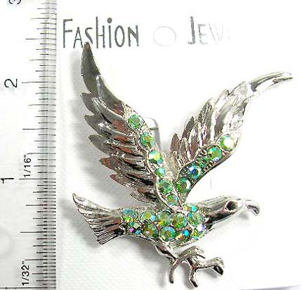 Canada import and export wholesale fashion pin eagle pin features multi irdescent crystal stone embedded