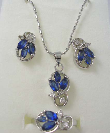 Wholesale cz jewelry set supply triple dark blue and clear for Handley rock jewelry supply vancouver wa