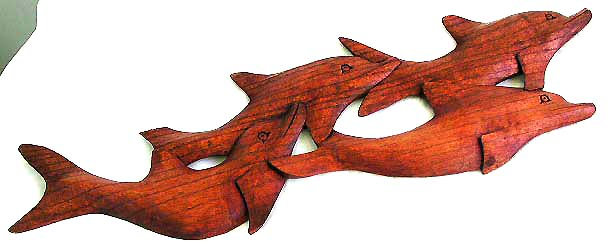 Animal wood carvings dolphins cut outs wholesale from