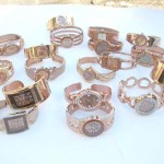 Bronze Rose Gold Color Rhinestone Bangle Cuff Watch, wholesale catalog