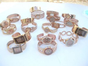 Bronze Rose Gold Color Rhinestone Bangle Cuff Watch, wholesale catalog