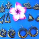 resin painted earrings, bali natural jewelry, wholesale bali natural jewelry
