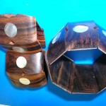 wood-shell-bracelets, handcraft wooden bead jewelry, made from colorful laminated hardwoods