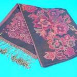 Silk Pashmina Shawls. Flower accent shawl woven print.