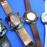 Rhinestone Watches. Art inspired fashion watch with imitation leather band.