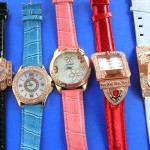 wholesale watches. Trend wear copper clock face frame with classic cz gemstones inlaid on ladies stylish watch.