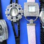 wholesale designer watches.Day wear unique design watch with cz gem stones.