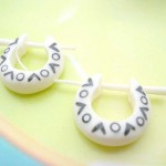 wholesale organic jewelry. bone hoop earrings with O and V painting.