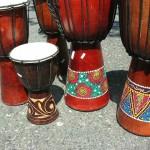 djembe drum. Handmade wooden music instrument drum.
