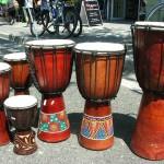 djembe drums. Handmade wooden music instrument drum.