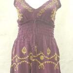 wholesale summer dress. Deep V rayon sundress with embroidery. Adjustable shoulder stripes. Elasticised smocked waist.