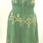 Wholesale dresses. Deep V rayon sundress with embroidery. Adjustable shoulder stripes. Elasticised smocked waist.