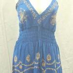 wholesale summer dresses usa. Deep V rayon sundress with embroidery. Adjustable shoulder stripes. Elasticised smocked waist.