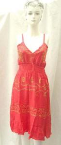 Wholesale sundress. Deep V rayon sundress with embroidery. Adjustable shoulder stripes. Elasticised smocked waist.