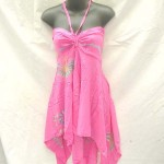 Wholesale women's clothing. Angle cut short dress with tube top and neck tie. Rayon, handmade in Bali Indonesia.