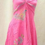 wholesale kaftan from Bali Indonesia. Angle cut short dress with tube top and neck tie. Rayon, handmade in Bali Indonesia.