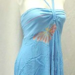 skirts dresses clothing wholesale. Angle cut short dress with tube top and neck tie. Rayon, handmade in Bali Indonesia.