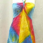 Wholesale sundress. Angle cut short dress with tube top and neck tie. Rayon, handmade in Bali Indonesia.