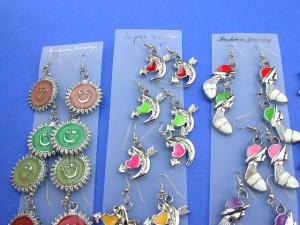 wholesale amber earrings. Fun fashion enamel charm earrings.