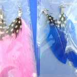 Wholesale organic ear jewelry. Hot style color feather earrings.