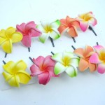handflower Chainmaille .Foam plumeria flower hair clips in assorted tropical colors. Handmade handpainted in Bali Indonesia.