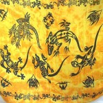 pareos wholesale. yellow tie-dye gecko and tattoo design sarong pareo.