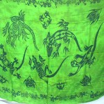 Wholesale Clothing. beachwear green sarong with tribal gecko tattoo.