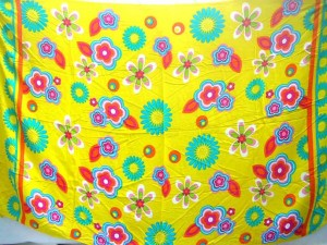Wholesale Hippie Clothing Sarong. bright yellow floral beach sarong.
