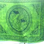 Sarong Apparel. fairy Celtic Dragon and Maiden sarong in green