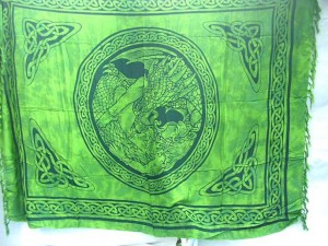 Sarong Apparel. fairy Celtic Dragon and Maiden sarong in green