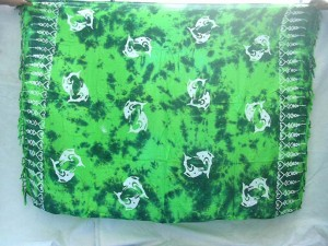 Sarong wholesaler. Tropical pattern monocolor dark green beach summer wrap shawl. Mixed patterns include fish, dolphin, sun face, floral, pineapple, seashell, seastar, palm trees etc, randomly choosed by us.