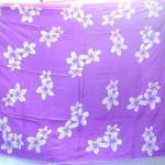 Bali Export. plumeria sarong purple and white flower.