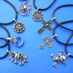 wholesale sterling silver necklaces. New age gothic style pendant charm on black leather string necklace.