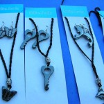 wholesale necklaces. Crafted hematite charm pendant necklace with matching hematite earrings.