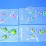 wholesale ladies fashion. Fresh fashion jewelry set with enamel pendant design and matching earrings.