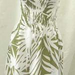 beach fashion distributor. Palm leaf rayon long dresses. Adjustable shoulder stripes. Smocked tube top, elasticised on front and back.