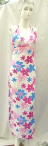 women garments manufacturers. Tropical floral prints rayon long dresses with embroidery ribbon. Deep V, tie on neck.