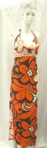 wholesale apparel dresses. Tropical floral prints rayon long dresses with embroidery ribbon. Deep V, tie on neck.