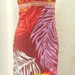 Twomen garments manufacturers. ropical floral prints rayon long dresses with embroidery ribbon. Deep V, tie on neck.